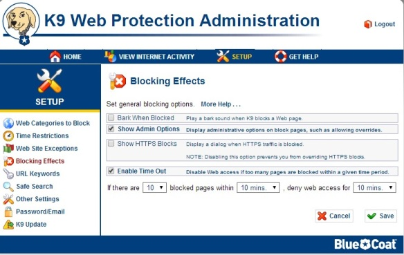 k9 Web Protection Blocking-effects