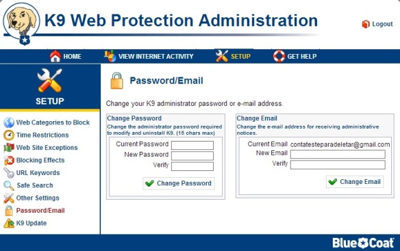 k9 Web Protection Email-password