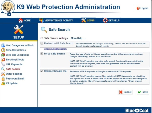 k9 Web Protection Safe-searh